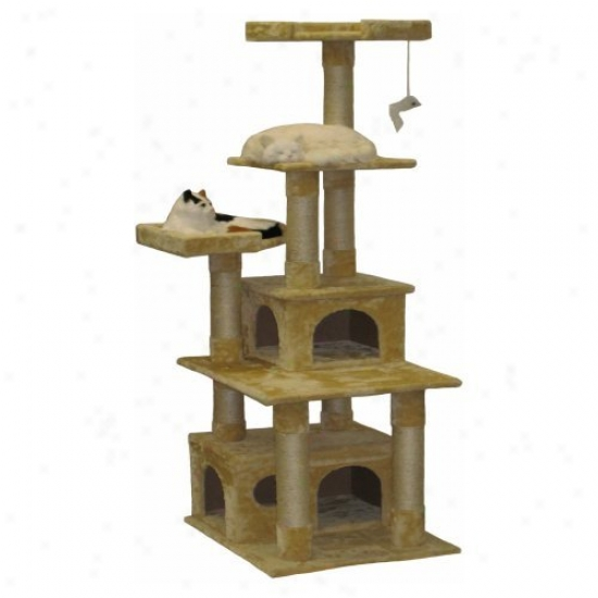 Go Pet Club Beige Cat Tree Furniture Condo Houwe - 67 In.