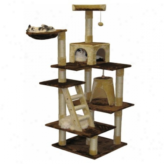 Go Pet Club Brown And Beige Cat House Furniture - 72 In.