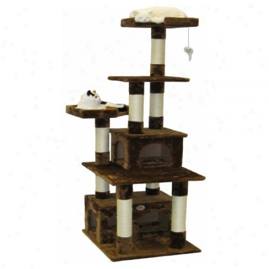 Go Pet Club Brown Cat Tree Furniture Condo Family - 67 In.