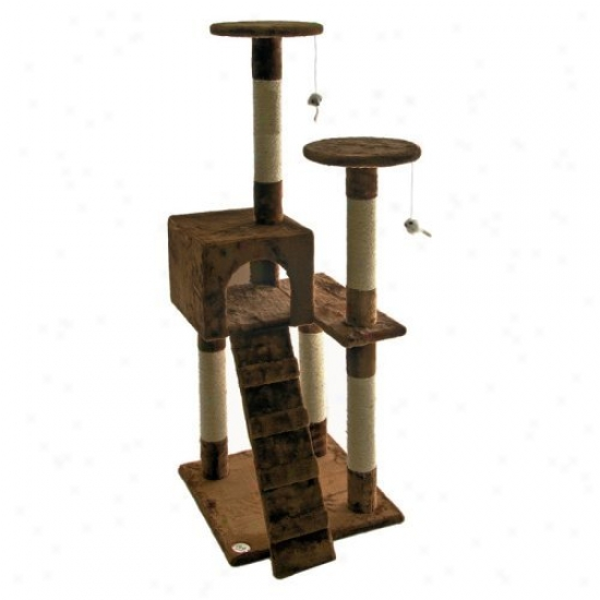 Go Pet Club Cat Tree Furniture 52 In. High - Brown