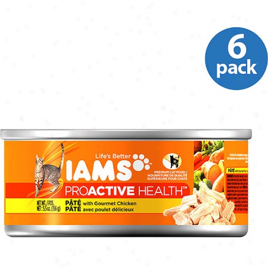 Iams Pro-active Health Pate Cat Food Witth Gourmet Chicken Bundle, 5.5 Oz (pack Of 6)