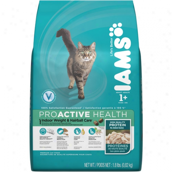 Iams Proactive Health Indoor Weight & Hairball Care Cat Food, 1.8 Lb