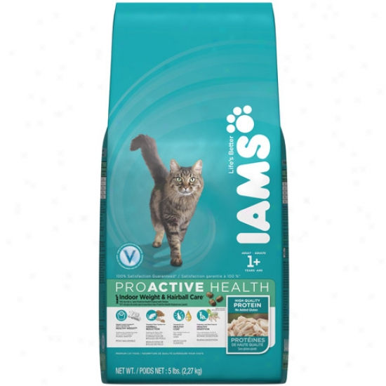 Iams Proactive Health Indoor Weight & Hairball Care Cat Food, 5 Lb