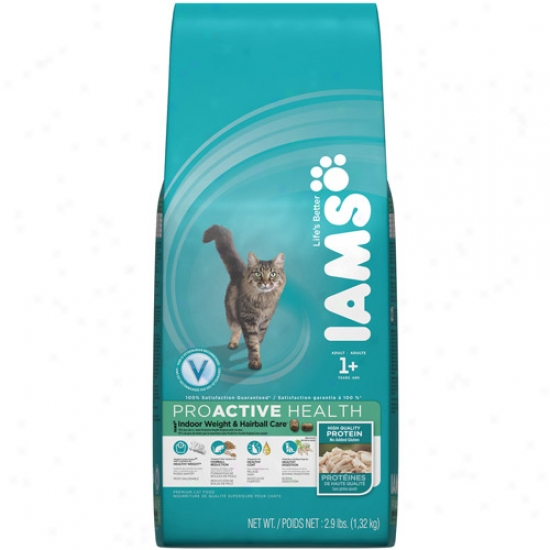Iams Proactive Health Indoor Weight & Hairball Care Cat Food, 2.9 Lb