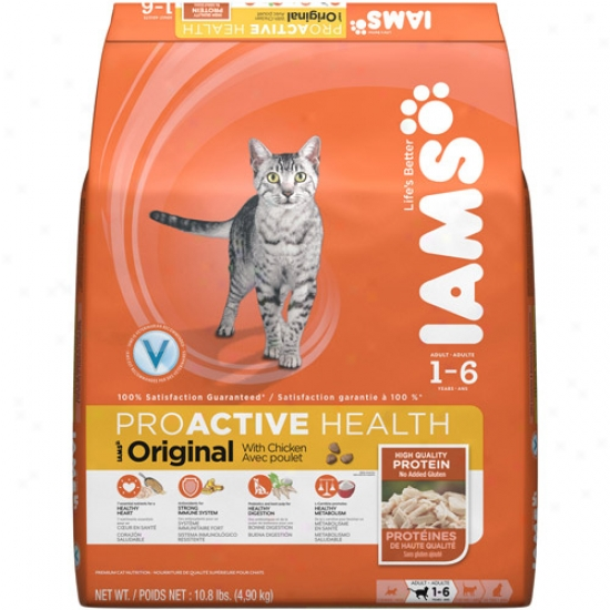 Iams Proactive Health Original Cat Food, Chicken, 10.8 Lb