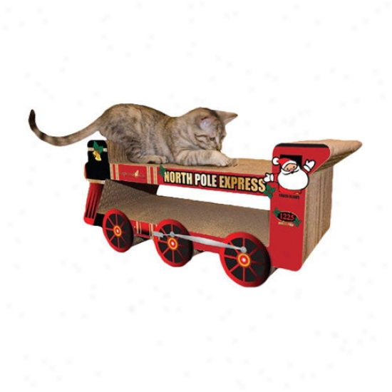 Imperial Cat North Pole Express Trrain Recycled Paper Cat Scratching Board