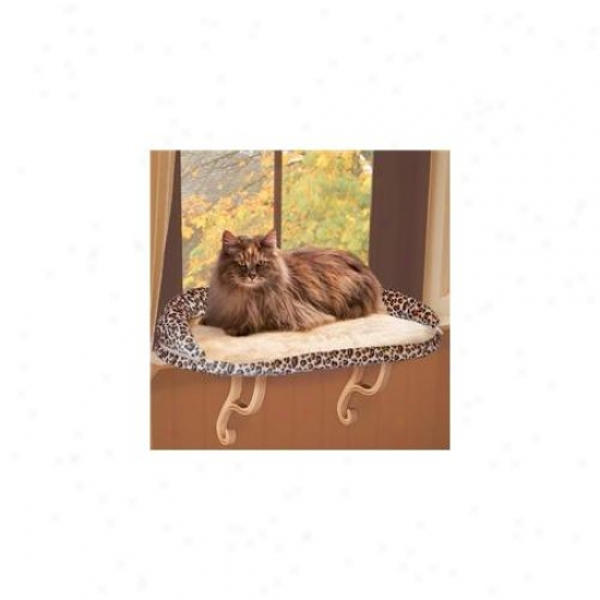 K&h 9097 Deluxe Kitty Sill With Bolster Leopard