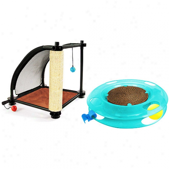 Kitty City Climbing Tower Cat Furniture With Swat Track Bundle