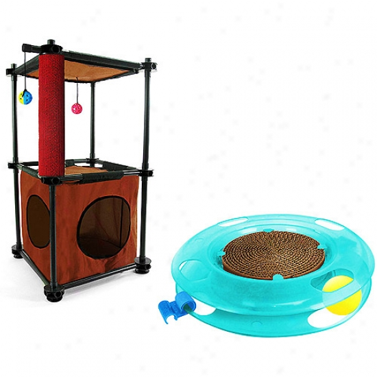 Kitty City Tower Cag Furniture With Swat Track Bundle