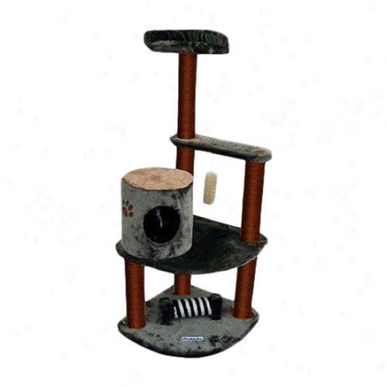 Kitty Mansions 53'' Maple Cat Tree In Green And Brown