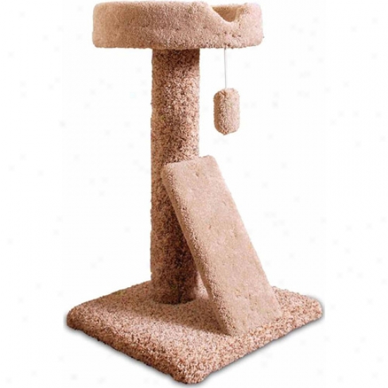"Majestic Pet Products 30"" Carpeted Ramp Claw Bedd Cat Tree"