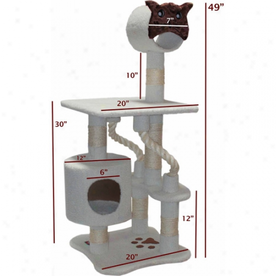 "Majestic Pet Products 49"" Bungalow Sherpa Cat Tree"