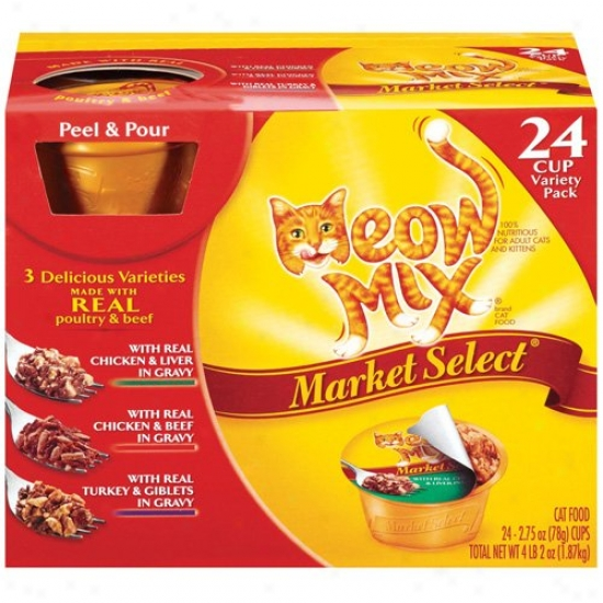 Meow Mix Market Select Cat Food Poultry & Beef Variety Pack, 24ct