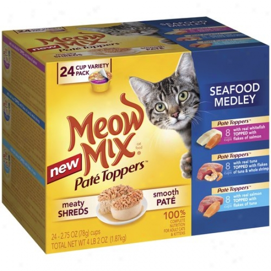 Meow Mix Pate Toppers Seafood Medley Variety Pack Cat Food, 2.75 Oz, 24ct