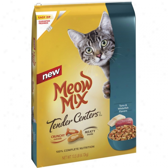 Meow Mix Tender Centers Dry Cat F0od - Tuna & Whitefish Flavors, 13.5 Lb
