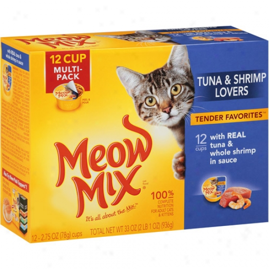 Meow Mix Tender Favorites Cat Food, Tuna &-Shrimp Lovers, 2.75 Oz, 12 Count