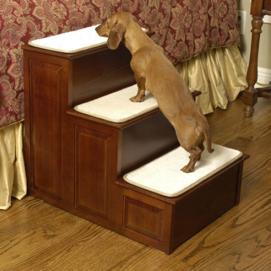 Mr. Herzher's Thee Step Pet Stairs In Cherry Finish