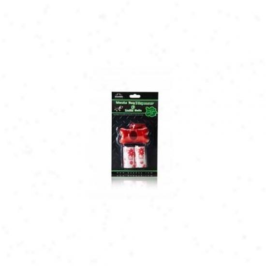 Nandog Pb-2001-rd Solid Bone Shape Red Waste Bag Holder