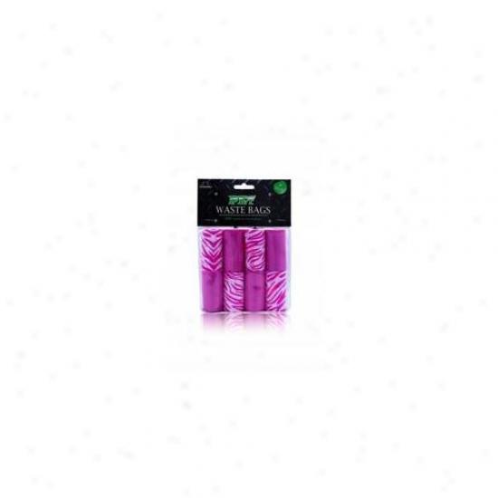Nandog Wbr-7008-pkk 8 Pack Waste Bag Re;lacement Pink-pink Zebra