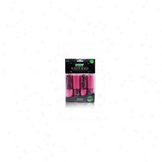 Nandog Wbr-7316-pk 16 Pack Waste Bag Replacement Pink-pink Words Print