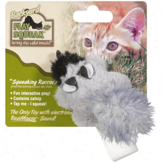 Ourpets Ct-10496 Play N Squeak Squeaking Raccoon Cat Toy