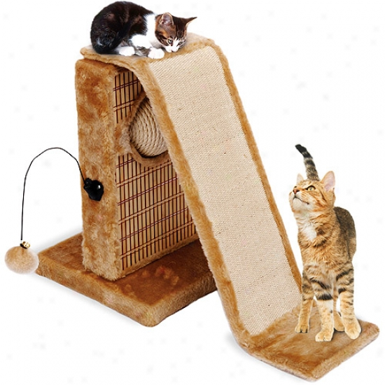 Penn Plax Action Center Cat Tree With Sisal Slide And Bamboo Rubbing Post