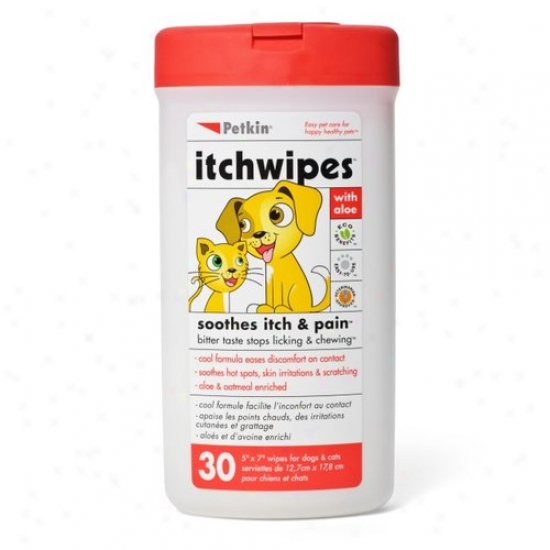 Petkin Itchwipes With Aloe F0r Dogs And Cats, 30 Sheets