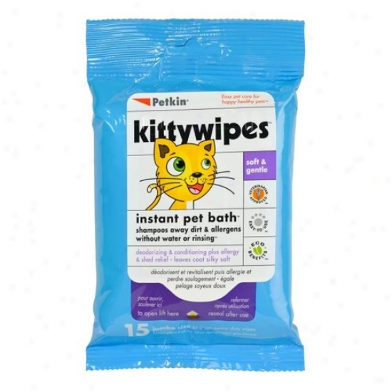 Petkin Kittywipes Instant Pet Bath For Cats, 15 Sheets