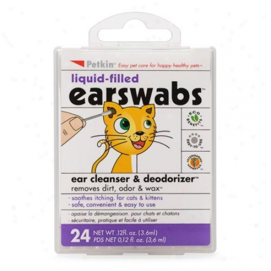 Petkin Liquid-filled Earswabs Ear Cleanser & Deodoorizer For Cats,0 .12 Fl Oz, 24 Count
