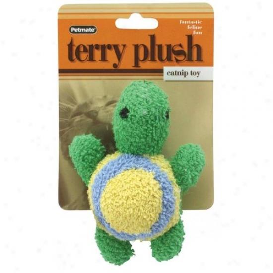 Petmate Aspen Pet 0350633 Terry Plush Catnip Turtle Cat Folly