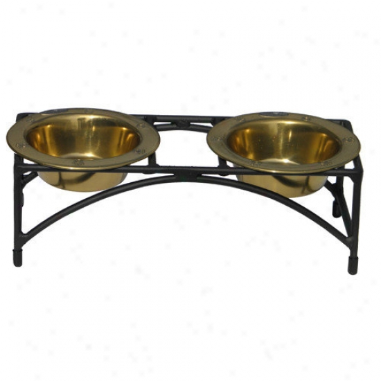 Platinum Pets Cat Double Diner Stand With 2 Wide Rimmed Bowls