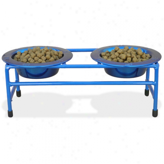 Platinum Pets Cat Double Diner Stand With Two Wide Rimmed Bowl (8 zO.)