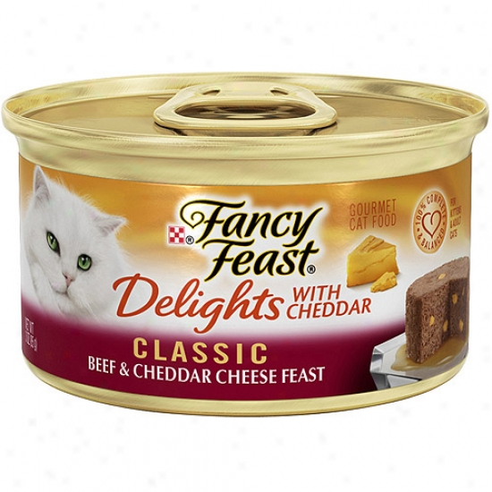Purina Fancy Feast Delighfs With Cheddar Classic Beef & Cheddar Cheese Feast Gourmet Canned Cat Food ,3 Oz