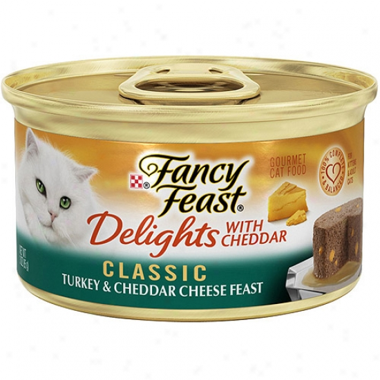 Purina Fancy Feast Delights With Cheddar Classic Turkey & Cheddar Cheese Feast Gourmet Canned Cat Food, 3 Oz