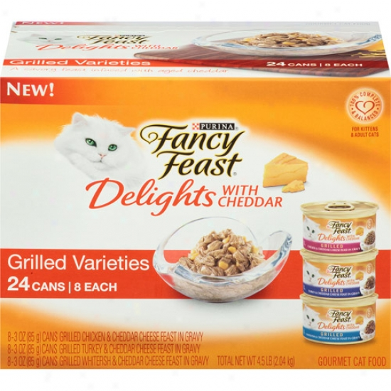 Purina Fancy Feast Delights With Cheddar Grilled Varieties 24-pack Gormet Canned Cat Food, 3 Oz