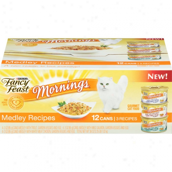 Purina Fancy Feast Mornings 3 Medley Recipes Gormet 12-pack Canned Cat Feed, 3 Oz