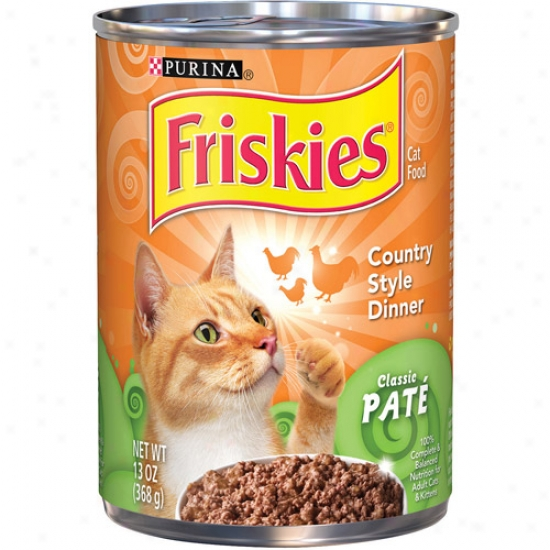 Purina Friskies Classic Pate Country Style Dinner Canned Cat Food, 13 Oz