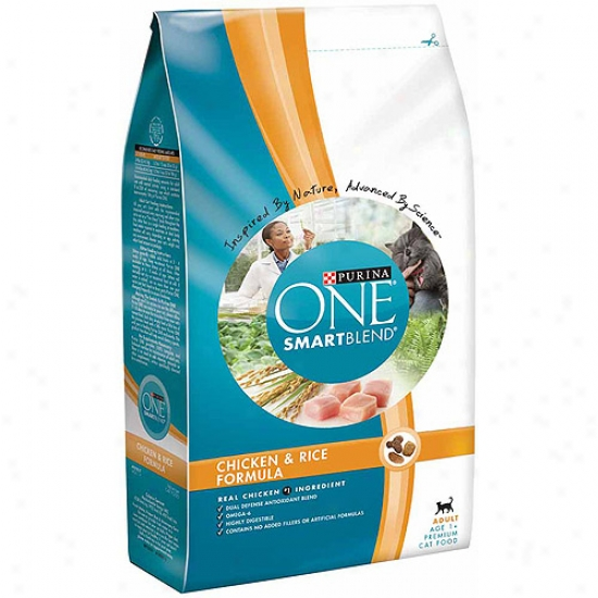 Purina One Cat Dry Smartblend Adult Chicken And Rice Formula Cat Food, 7 Lbs