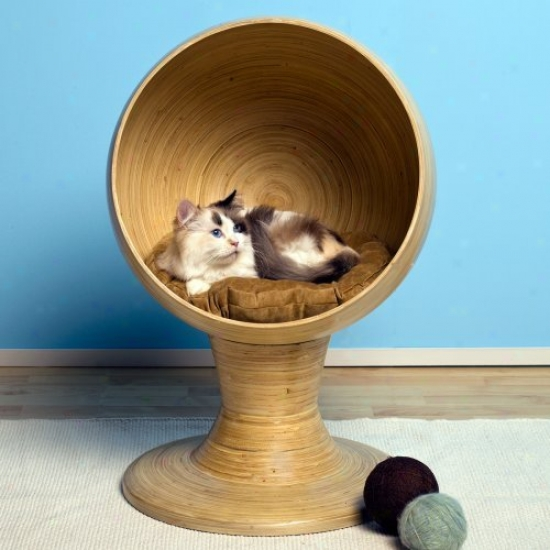 Refined Feline Bamboo Kitty Ball Bed