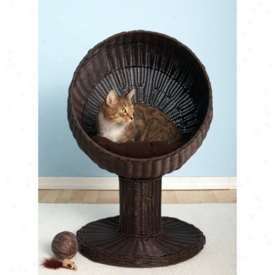 Refined Feline Kitty Ball Bed - Espresso
