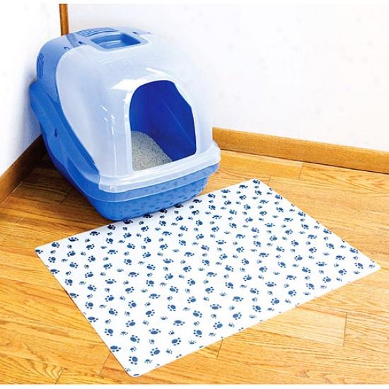 Rpm Inc 20inch X 28inch Grey Paws Print Litterbox Mat  Clmg20229p