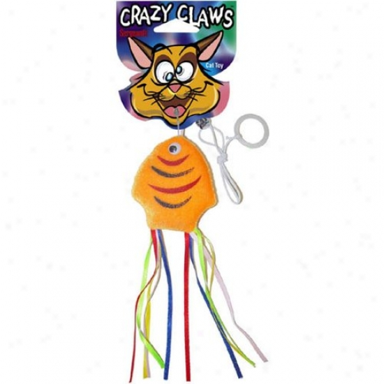 Sergeahts 49962 Pet Care Products Crazy Claws Fish With Ribbons Soft Cat Toy