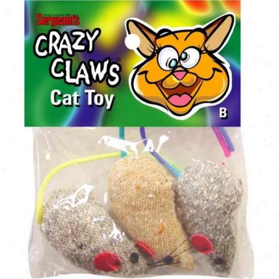 Sergeants 49966 Pet Care Products Crazy Claws Mice Catnip Toy
