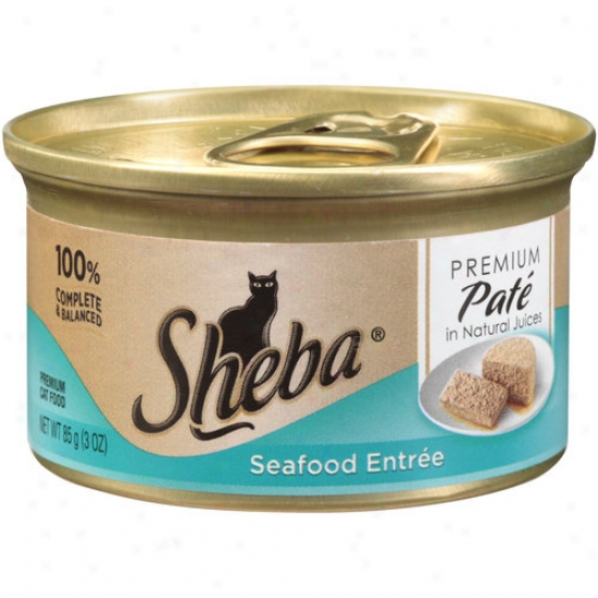 Sheba Premium Pate Cat Food, Seafood Entree In Natural Juices, 3 Oz