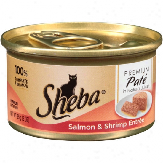Sheba Premmium Pate In Natural Juices Salmon And Shrimp Entree Premium Canned Cat Food, 3 Oz