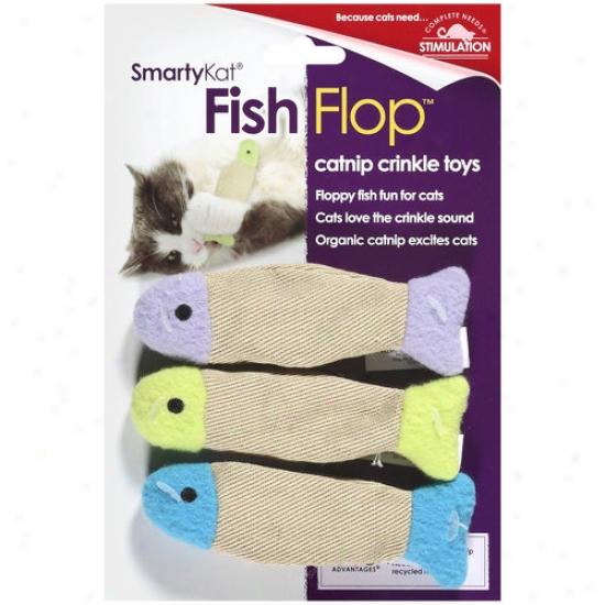 Smartykat Fishflop Catnip Cribkle Cat Toy, 3ct