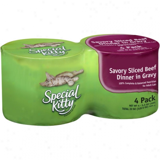 Special Kitty Canned Cat Food, Savory Sliced Beef Dinner In Gravy, 5.5 Oz, 4 Count