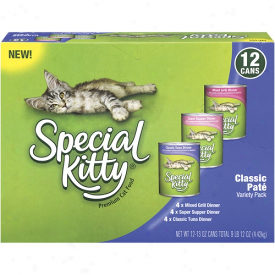 Special Kitty Premium Classic Pate Variety Pack Cat Food, 12ct