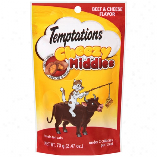 Temptations Cheezy Middles Beef And Cheese Flavor Cat Treats, 2.47 Oz