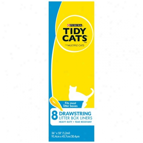 Tidy Cats Drawstring Litter Box Liners For Multiple Cats, 8-coynt